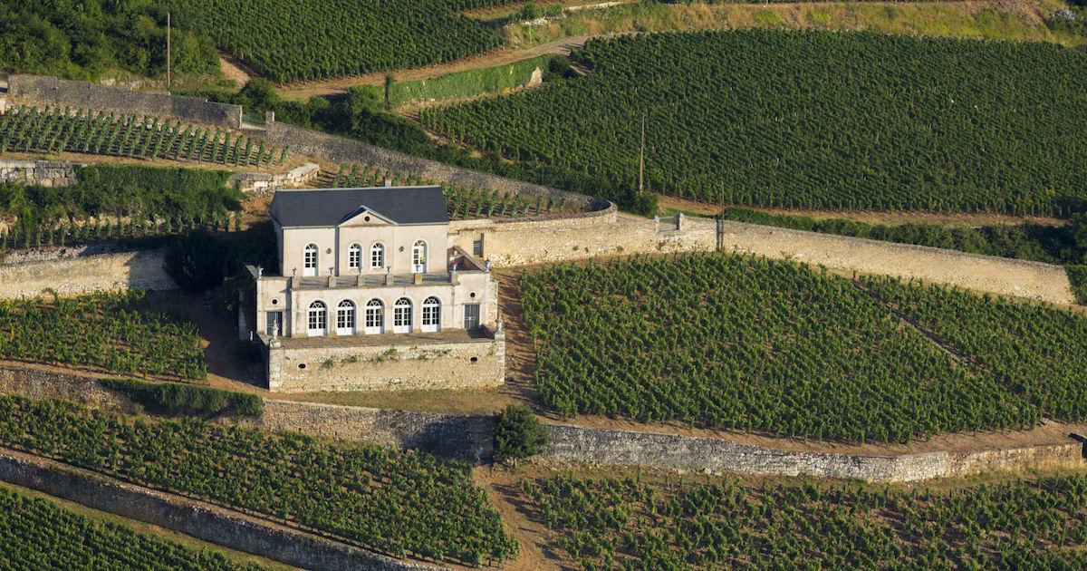 Vignoble de la Cote de Nuits, vue sur le Chateau Gris sur le village de Nuits-Saint-Georges.