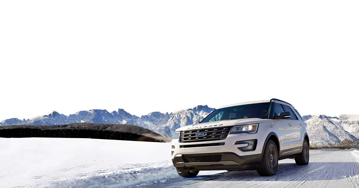 Winter Driving with Ford - White Explorer
