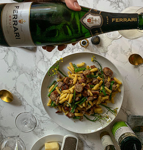 Ferrari Trento Brut - Cavatellis with sausages Bottle poured
