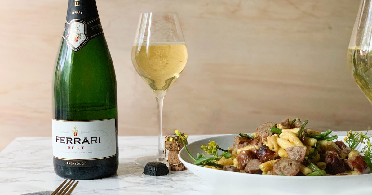 Ferrari Trento Brut - Cavatellis with sausages - cover