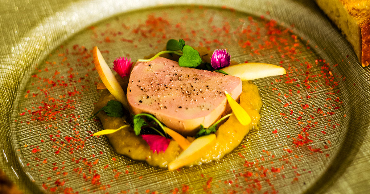 Half-cooked foie gras in terrine, apple chutney brioche toast by Chef Gregory Faye